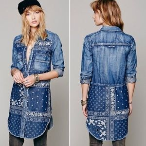 NWT Free People Denim Bandana Print Tunic Dress